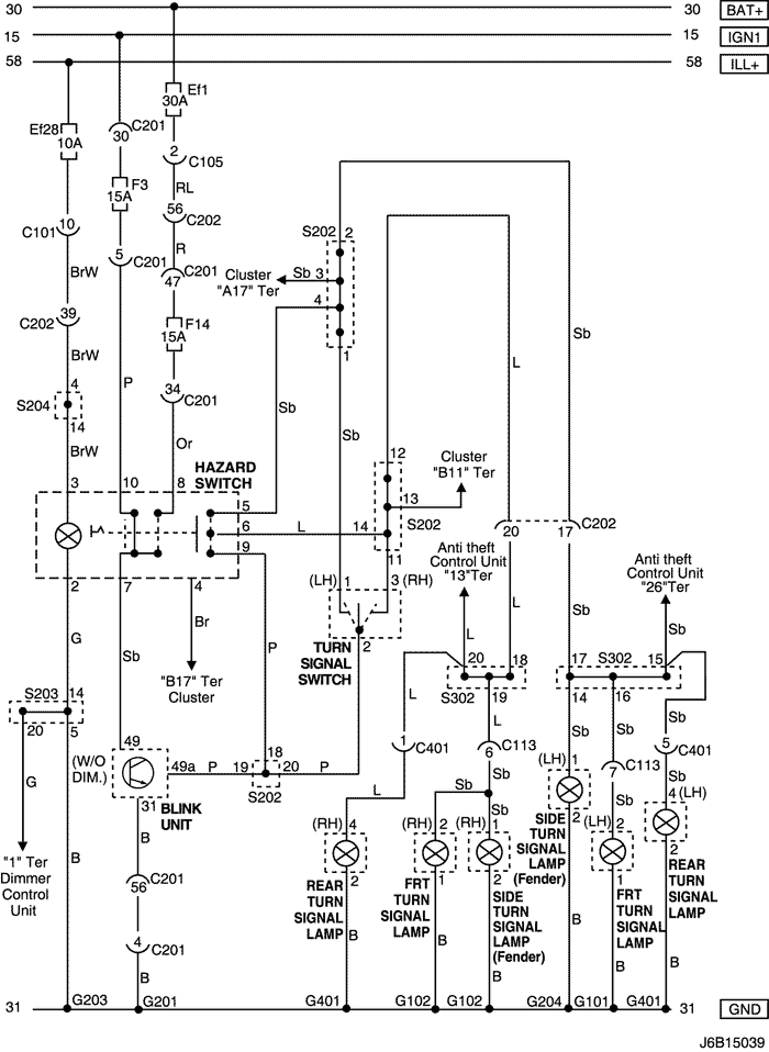 Electrical Wiring Diagram 2006 Nubira-Lacetti 14. HAZARD & TURN SIGNAL LAMP  CIRCUIT   Chevrolet Lacetti Wiring Diagram      mylacetti.ru