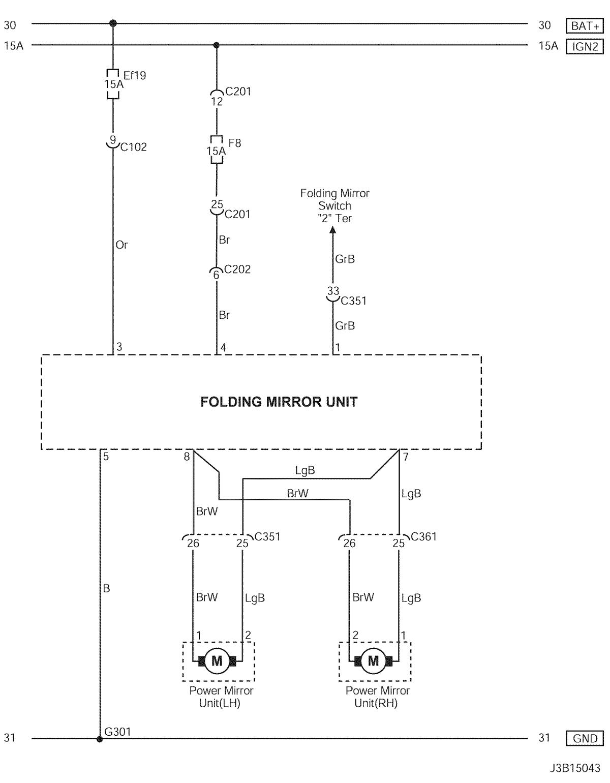 Electrical Wiring Diagram 2006 Nubira-Lacetti 23. FOLDING MIRROR UNIT  CIRCUIT